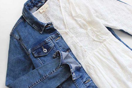 Veste jean casual robe romantique